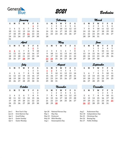 2021 Calendar for Barbados with Holidays