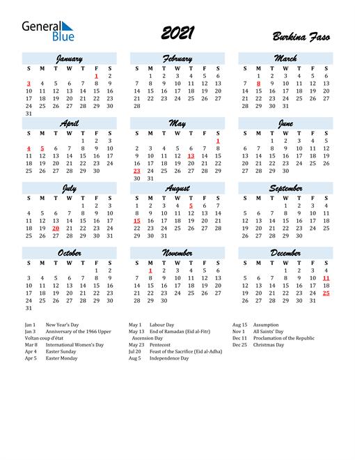 2021 Calendar for Burkina Faso with Holidays