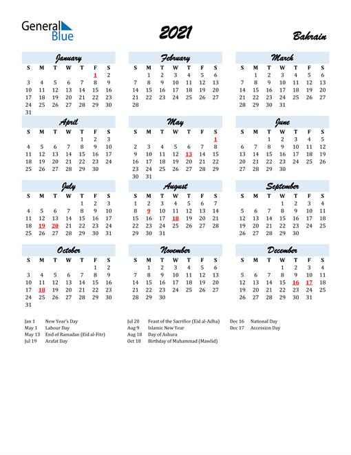 2021 Calendar for Bahrain with Holidays