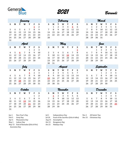 2021 Calendar for Burundi with Holidays