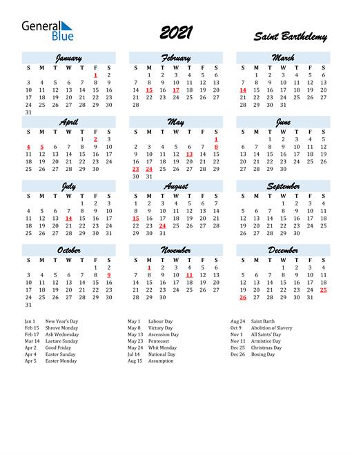 2021 Calendar for Saint Barthelemy with Holidays