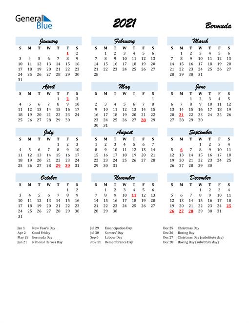 2021 Calendar for Bermuda with Holidays