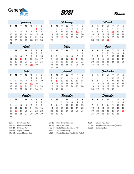2021 Calendar for Brunei with Holidays
