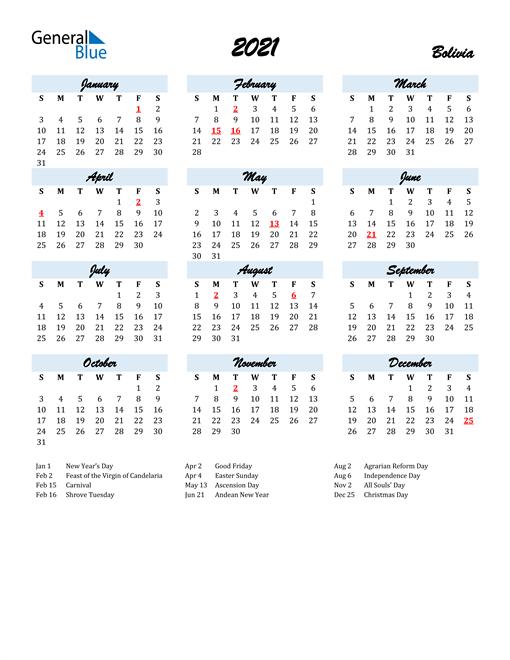 2021 Calendar for Bolivia with Holidays