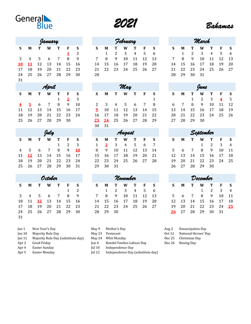 Image of 2021 Calendar in Script for Bahamas