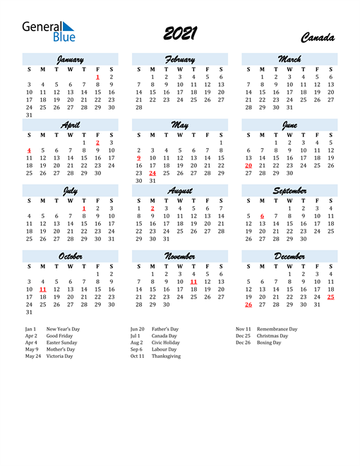 2021 Calendar for Canada with Holidays