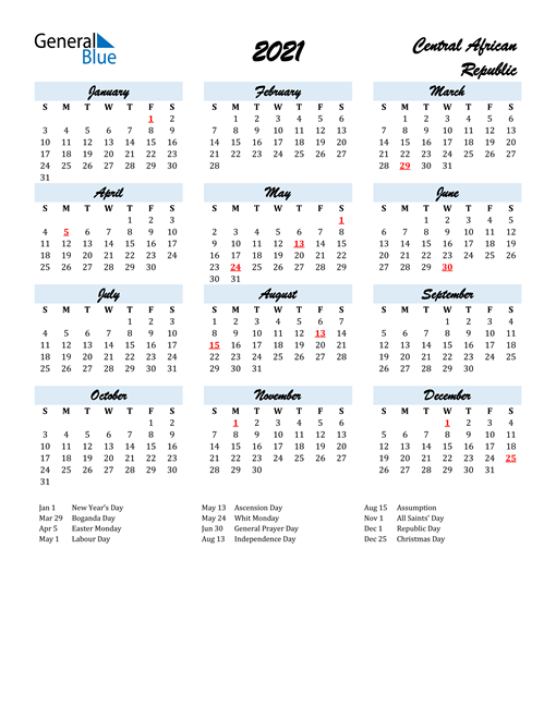 2021 Calendar for Central African Republic with Holidays