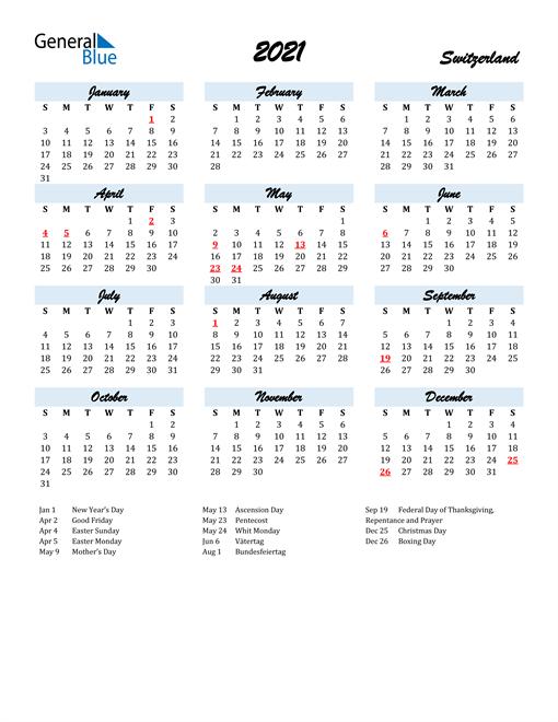 Image of 2021 Calendar in Script for Switzerland