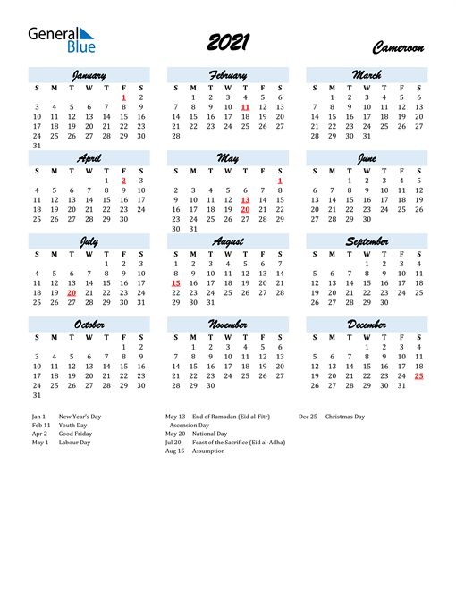 2021 Calendar for Cameroon with Holidays