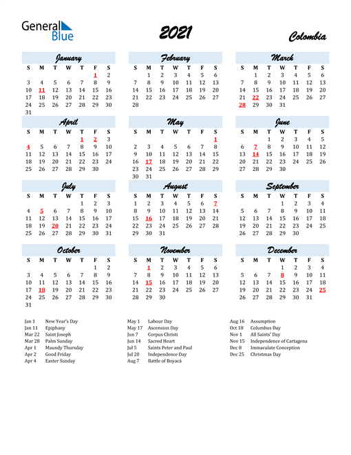 Image of 2021 Calendar in Script for Colombia