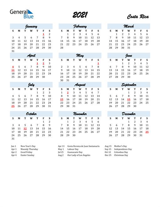 Image of 2021 Calendar in Script for Costa Rica