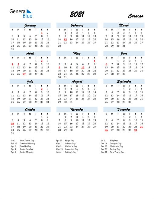2021 Calendar for Curacao with Holidays