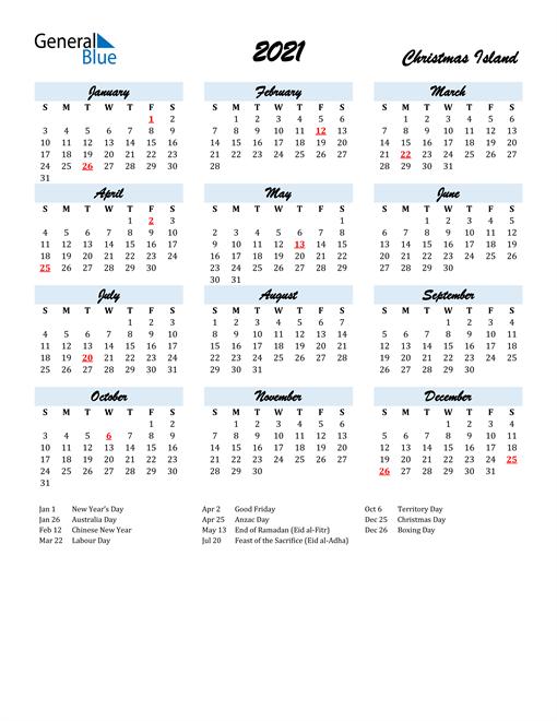 2021 Calendar for Christmas Island with Holidays