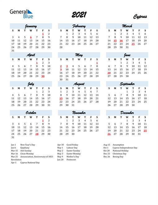 2021 Calendar for Cyprus with Holidays