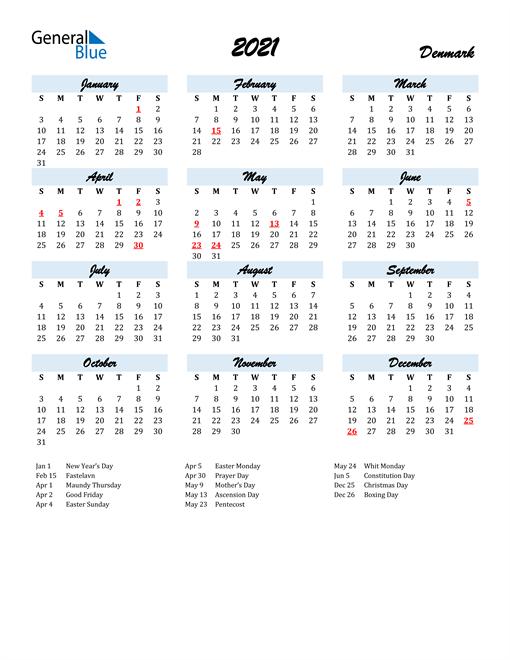 2021 Calendar for Denmark with Holidays