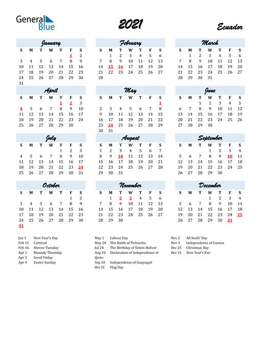 2021 Calendar for Ecuador with Holidays