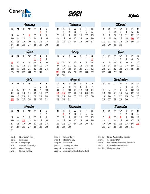 Image of 2021 Calendar in Script for Spain