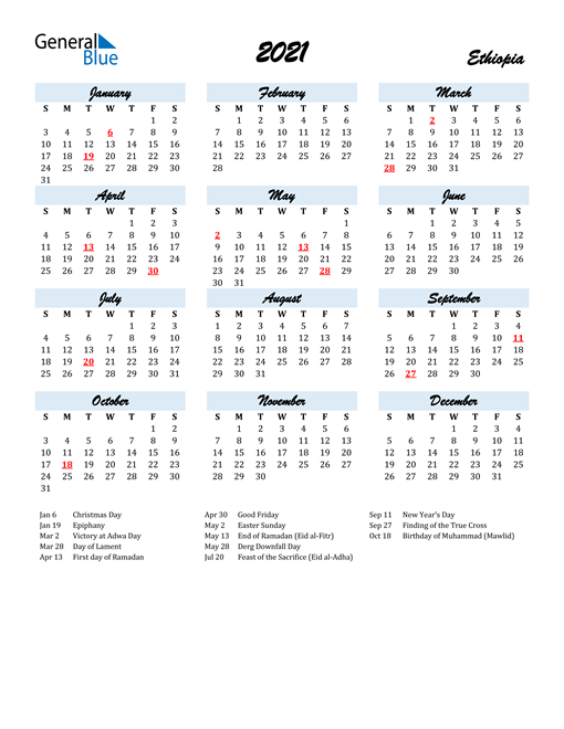 2021 Calendar for Ethiopia with Holidays