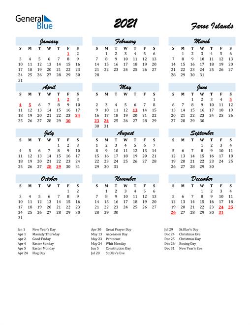 2021 Calendar for Faroe Islands with Holidays