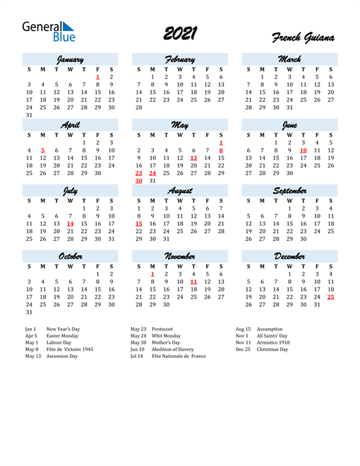 Image of 2021 Calendar in Script for French Guiana