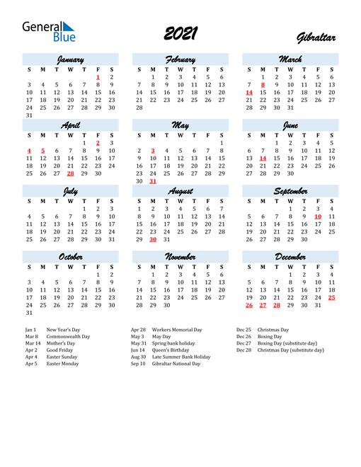 2021 Calendar for Gibraltar with Holidays