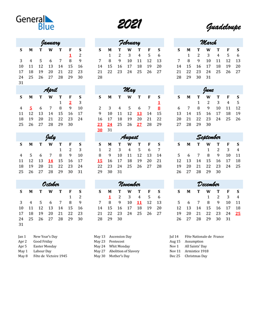 2021 Calendar for Guadeloupe with Holidays