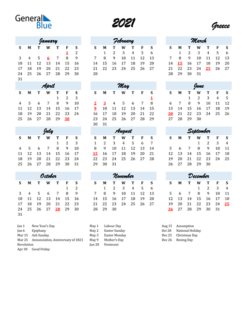 Image of 2021 Calendar in Script for Greece