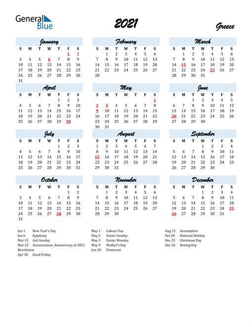 2021 Calendar - Greece with Holidays