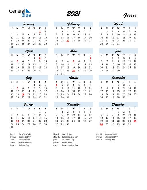 2021 Calendar for Guyana with Holidays