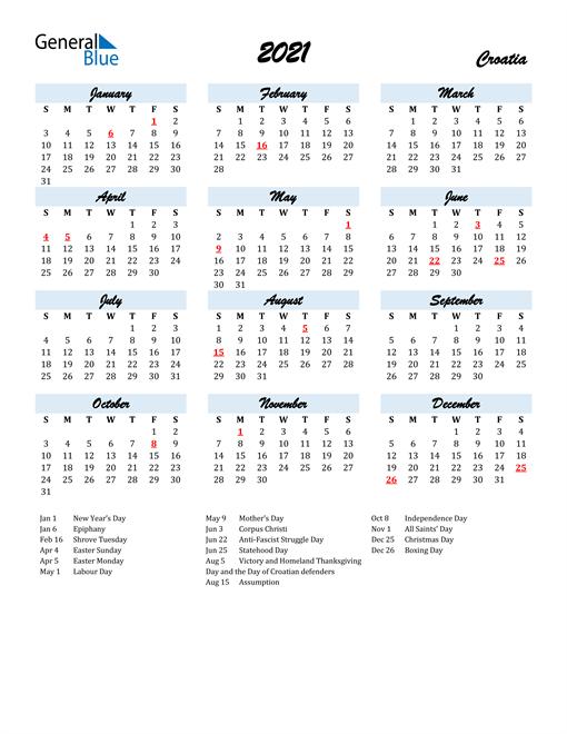 Image of 2021 Calendar in Script for Croatia