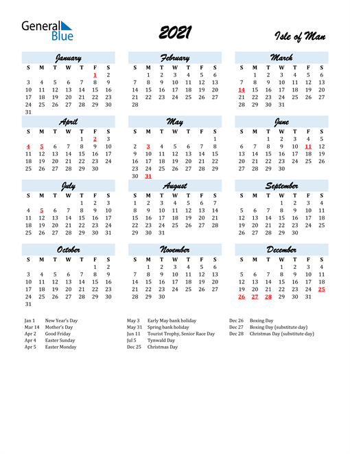2021 Calendar for Isle of Man with Holidays