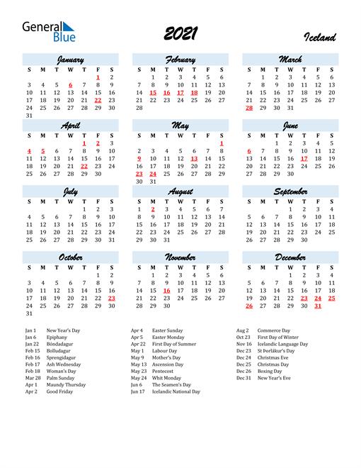 Image of 2021 Calendar in Script for Iceland