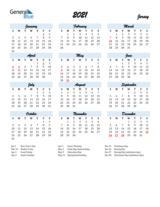 2021 Calendar for Jersey with Holidays
