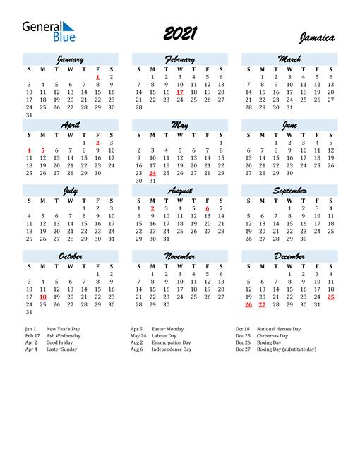 2021 Calendar for Jamaica with Holidays