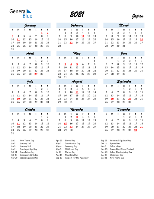 2021 Calendar for Japan with Holidays