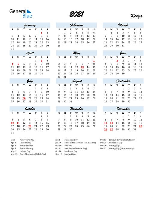 2021 Calendar for Kenya with Holidays