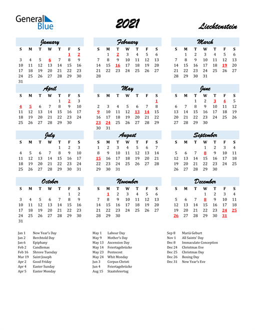 2021 Calendar for Liechtenstein with Holidays