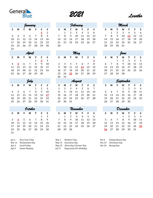2021 Calendar for Lesotho with Holidays