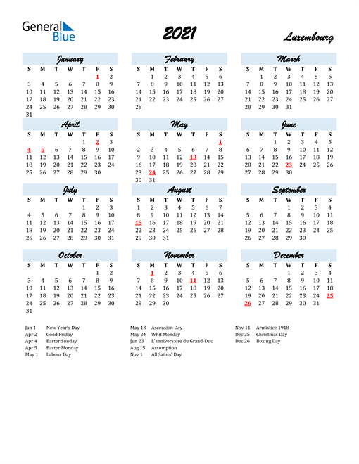 Image of 2021 Calendar in Script for Luxembourg