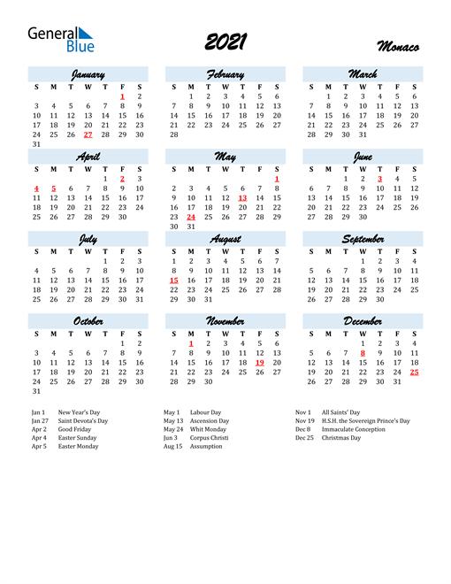 Image of 2021 Calendar in Script for Monaco