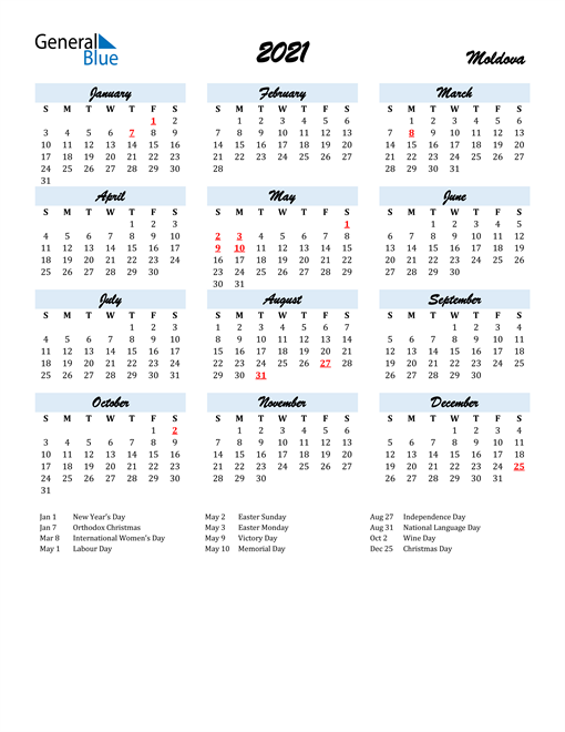 2021 Calendar for Moldova with Holidays