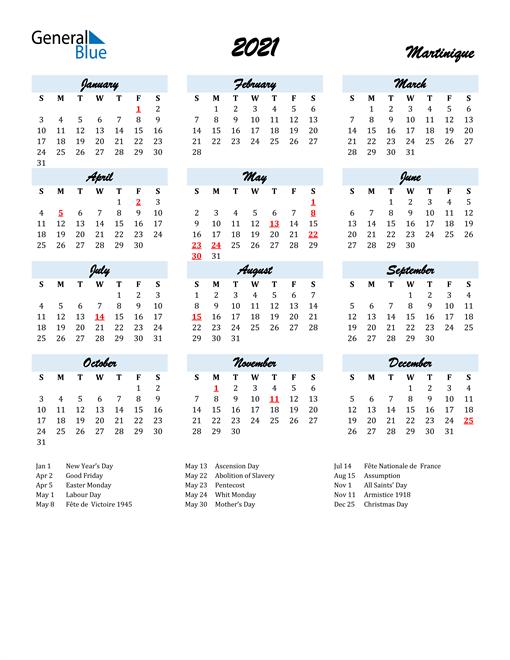 2021 Calendar for Martinique with Holidays