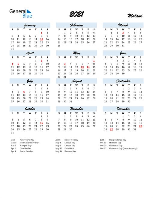 2021 Calendar for Malawi with Holidays