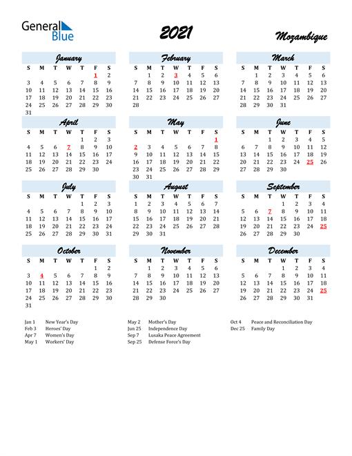 2021 Calendar for Mozambique with Holidays