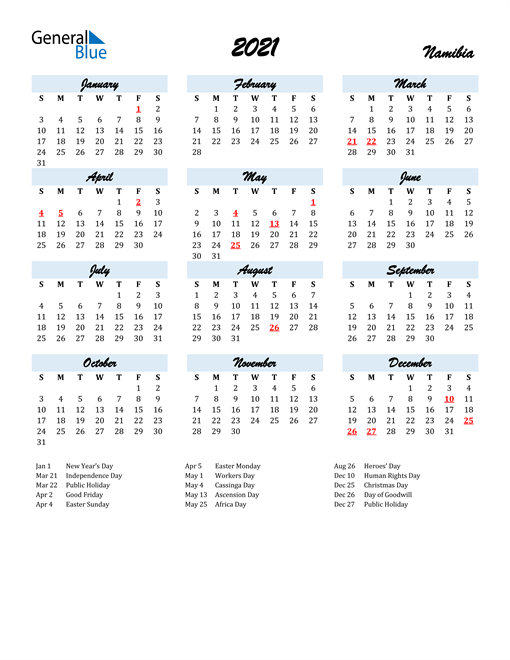2021 Calendar for Namibia with Holidays