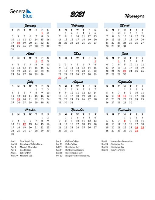 2021 Calendar for Nicaragua with Holidays