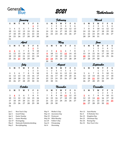 2021 Calendar for Netherlands with Holidays