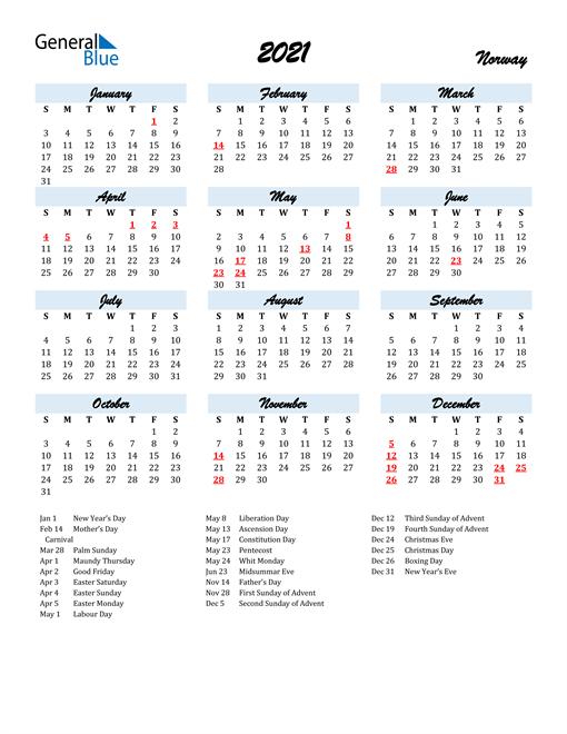 Image of 2021 Calendar in Script for Norway