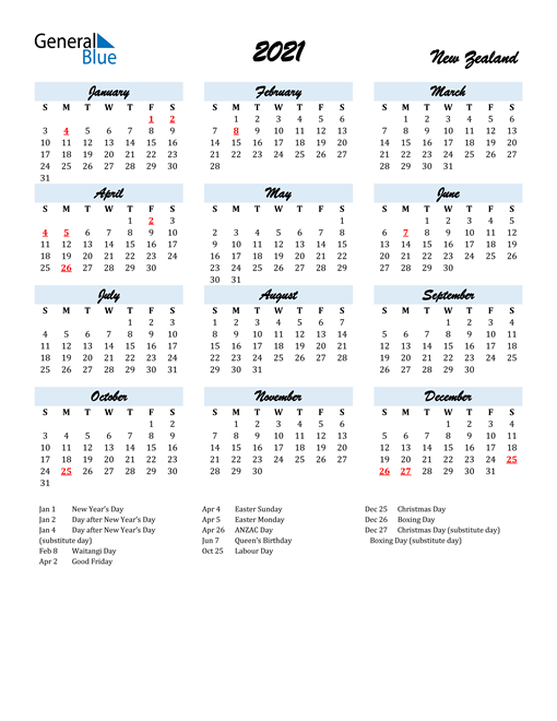 2021 Calendar for New Zealand with Holidays