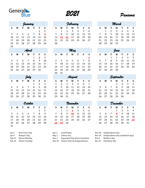 2021 Calendar for Panama with Holidays